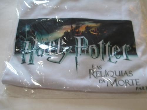 harry potter -camiseta branca tamanho gg- reliquias da morte