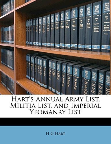 harts annual army list, militia list, and imperial yeomanry