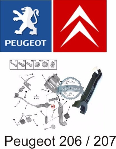 haste bieleta trava cabo embreagem pedal peugeot 206 207
