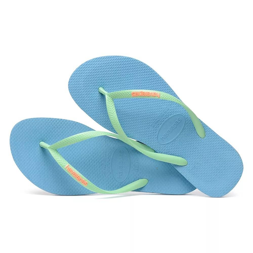 e03068224 havaianas slim logo pop up azul splash. Carregando zoom.