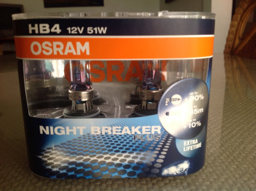 hb4 (9006) night breaker plus de osram 12v 55w 90% más luz.