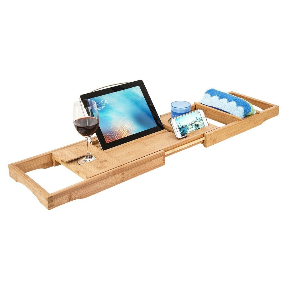 Hblife Bamboo Bathtub Caddy Shower Over Tub Tray Organizer ...