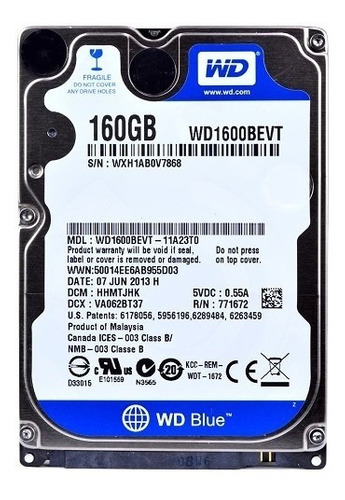 hd 160gb 2.5  notebook wester digital wd1600bevt sata 3.0gbs