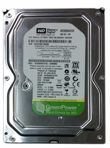 hd 500 gb para desktop e dvr - wd greenpower