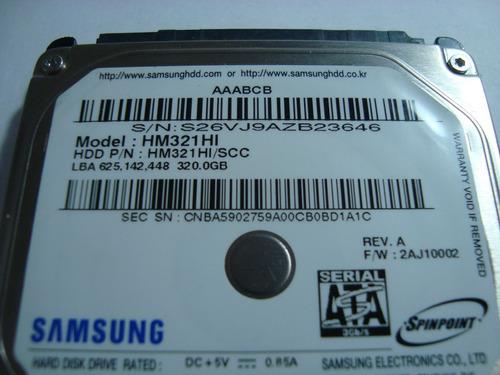 hd 6 - samsung 320gb hm321hi (defeito)