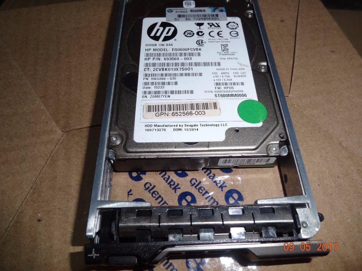 "HP EG0600FCVBK 693569-003 600GB 10K 6G 2.5/"" SAS SC HARD DRIVE G8 G9 9WG066-035"