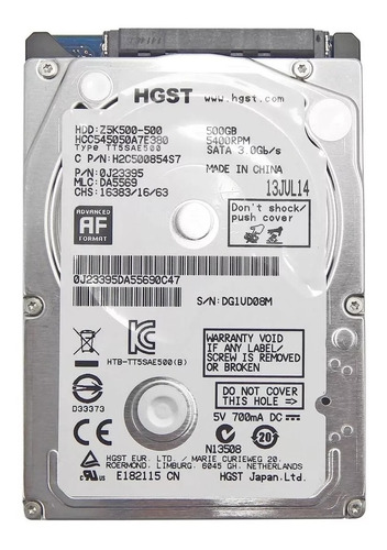 hd notebook 500gb sata 3 hitachi hgst slim 7mm 5400rpm