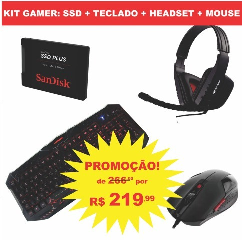 hd ssd sandisk 120gb + teclado + headset + mouse gamer