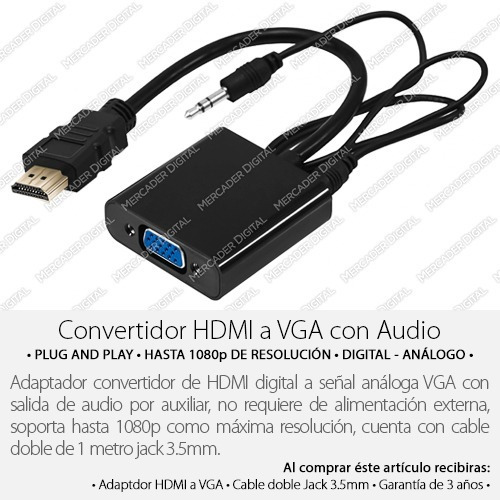 hdmi con audio vídeo