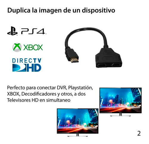 hdmi splitter 1x2 conecta a 2 monitores hd o tv lcd