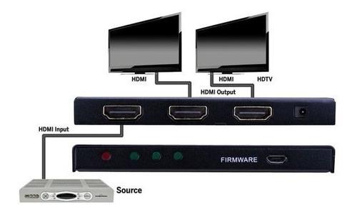 hdmi splitter amplificador 1x2 a 2 monitores o tv jwk vision