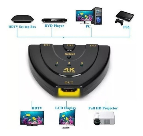hdmi switch 4k , 3 puertos 4k hdmi switch splitter 3 en 1