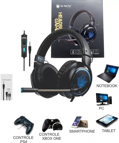 headphone headset r5 sound 7.1 p2 gaming adaptador ps4 xbox