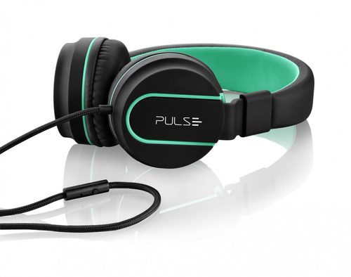 headphone on ear stereo preto/verde - pulse - ph159