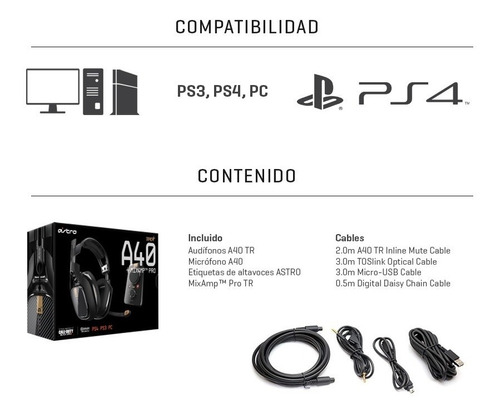 headset astro a40 tr + mixamp® pro ps4/pc