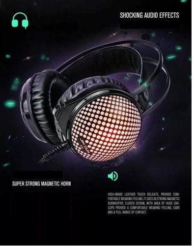 headset barato gamer led jin dun + adaptador de brinde