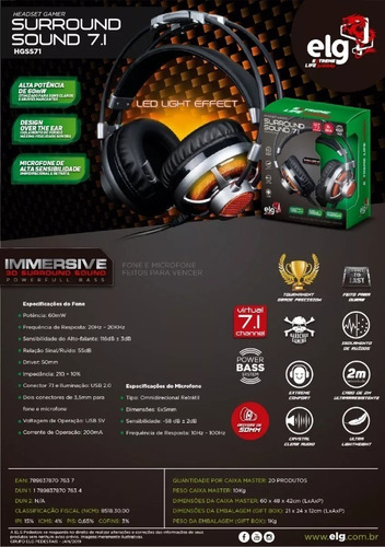headset gamer 7.1 surround channel c/ microfone hgss71 elg