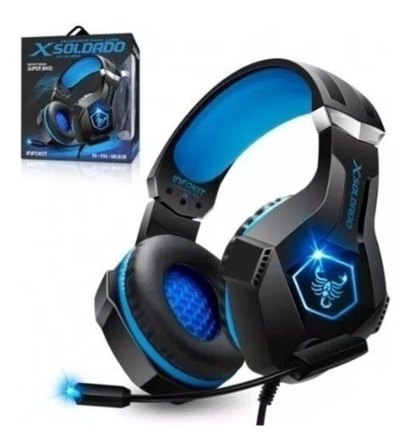 headset gamer fone xsoldado gh-x1000 usb/p2 ps4/pc e celular