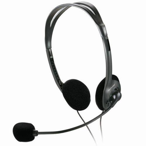 headset multilaser ph002 básico, com microfone - prata/preto