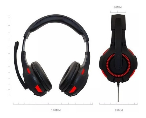 headset para game g301 vermelho com preto
