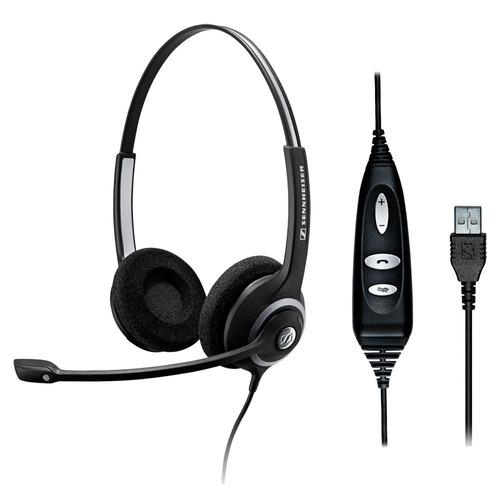 headset sennheiser 2 conchas, controle e usb sc260usb
