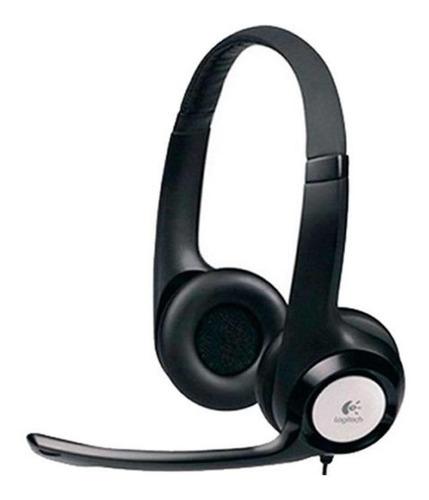 headset usb logitech h390 em couro com controle de volume