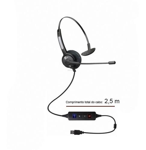 headset usb voip skype monoauricular com cancelador de ruído