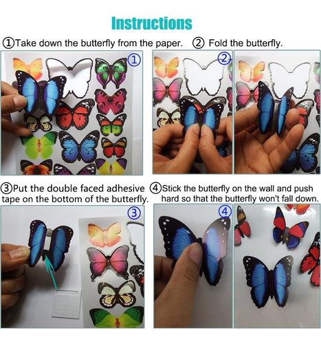 heansun 80 pcs tatuaje de pared de la mariposa, pared de la