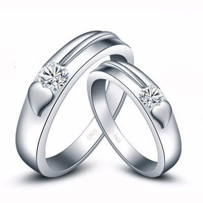 heart silver couple ring set
