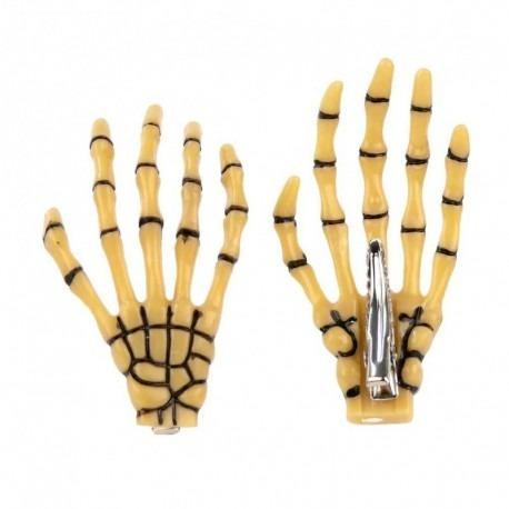 hebillas cabello mano de esqueleto plásticas