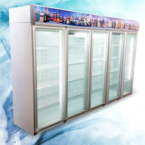 heladera exhibidora vertical de 3 puertas con cenefa