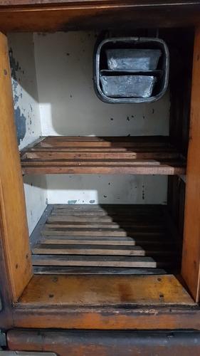 heladera figidaire antigua, de roble, 4 puertas