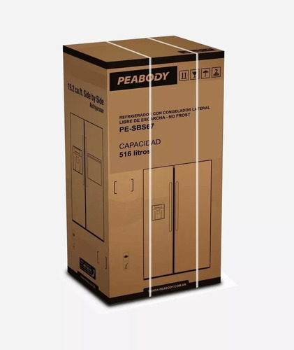 heladera no frost peabody doble puerta side by side 516 lts
