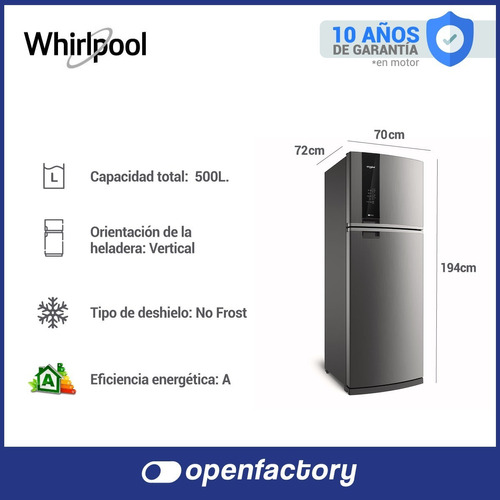 heladera no frost whirlpool 500 lts acero inox wrm57k1 nueva