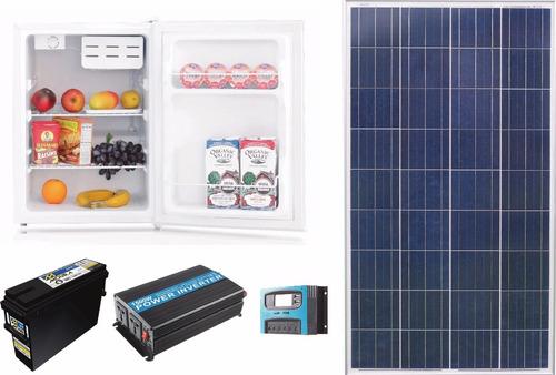 heladera solar bajo mesada con panel solar,bateria, inversor