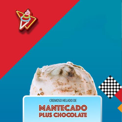 helado cremoso de mantecado con sirop de chocolate 4 lt
