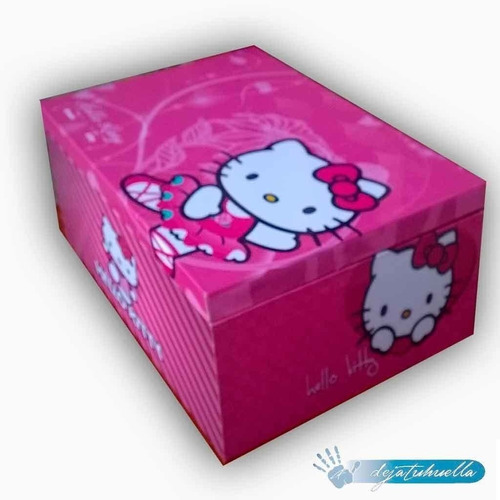 hello kitty cofre de madera. (34x20x10)