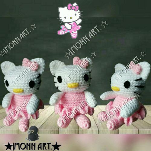 hello kitty,  muñeco amigurumi. tejido a mano, crochet!