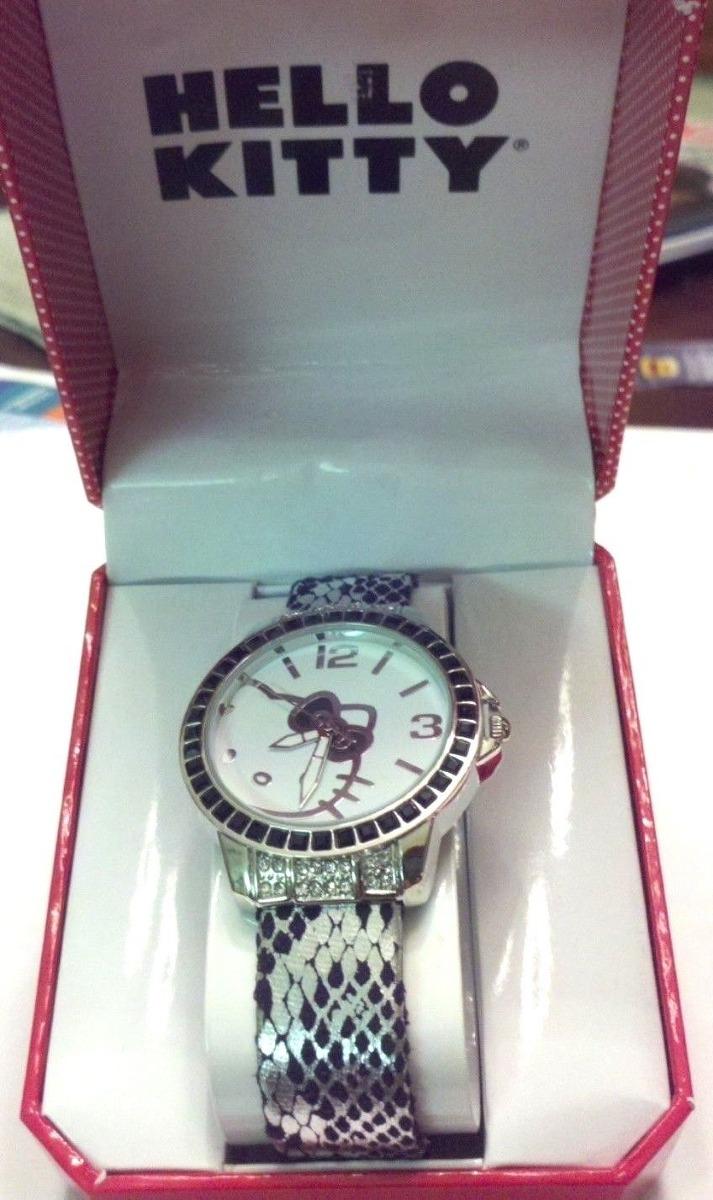 be6fbc3d29b4 Hello Kitty Reloj Nib Banda De Cristal Negro Plateado Metal ...