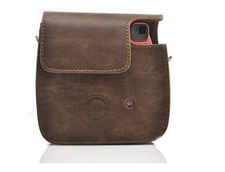 hellohelio classic vintage pu leather case instax cámara com