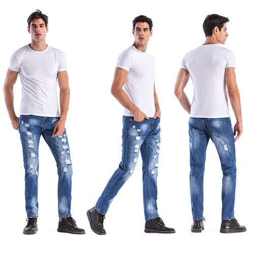 hemiks hombres 's casual ripped dril pantalones