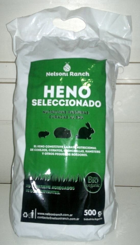 heno 500 x grs p/cobayos,hamsters conejos,hurones