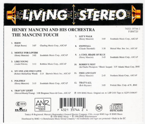 henry mancini and his orchestra: the mancini touch