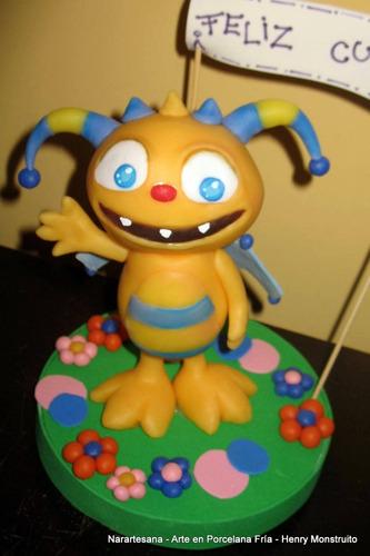 henry monstruito adorno para torta porcelana fría