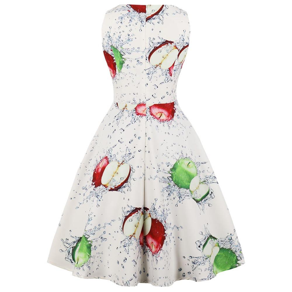 Hepburn Vendimia Vestido U Cuello De Impresión De Fruta Sin ...