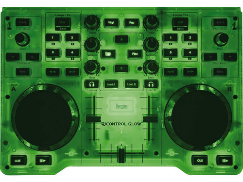 hercules dj glow green consola mixer mezcladora mp3 audio