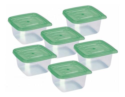 hermetico taper pote plastico 500ml sao / set x 6 unidades