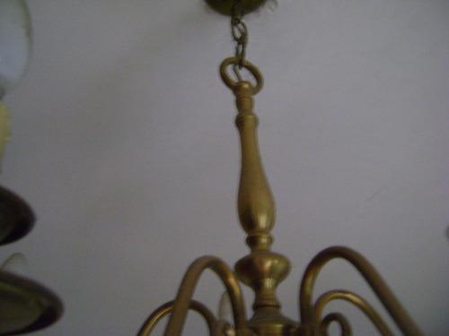 hermosa araña holandesa de cuatro luces, en bronce.