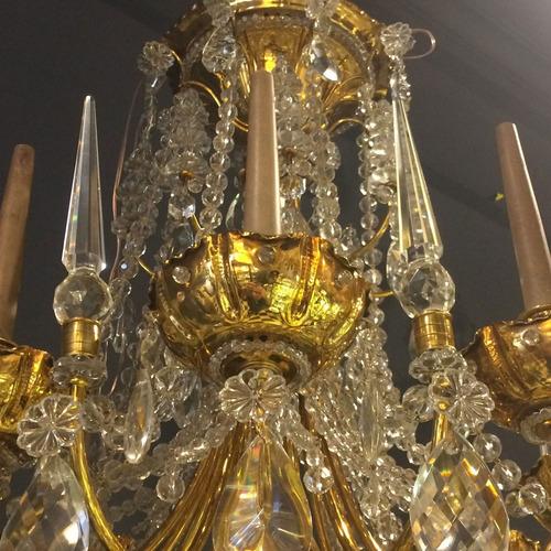 hermosa araña jansen francesa en bronce y cristal 8 l
