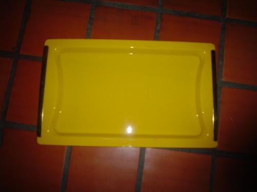 hermosa bandeja retro acrilico amarillo dorado 31 x 51 cm